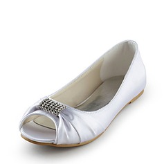 Satin Flat Hl Titte T Flate sko Brudesko med Rhinestone (047014110)