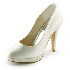 Satin Stiletto Heel Closed Toe Platform Pumps Wedding Shoes (047008119)