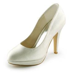Women's Satin Stiletto Heel Closed Toe Platform Pumps