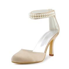 Frauen Satin Stöckel Absatz Geschlossene Zehe Absatzschuhe mit Nachahmungen von Perlen