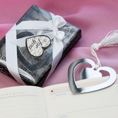 """Love Story"" Heart Shaped Stainless Steel Bookmarks With Ribbons/Tassel"