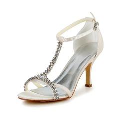 Women's Satin Stiletto Heel Pumps Sandals With Buckle Rhinestone