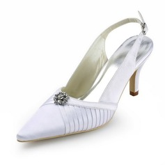 Satin Stiletto Heel Slingbacks Wedding Shoes With Rhinestone (047011887)