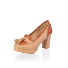 Leatherette Chunky Heel Platform Pumps With Tassel (085025198)