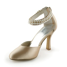 sateng Stiletto Hl Lukket T Pumps Brudesko med Imitert Perle (047005443)