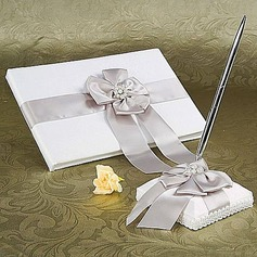 White Wedding Guest Book and Pen Set With Silver Pearl and Bow(101018160)