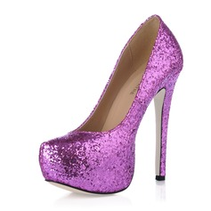 Sparkling Glitter Stiletto Heel Closed Toe Platform Pumps