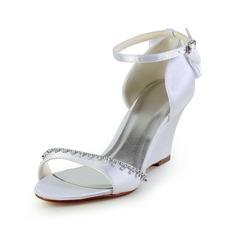Women's Satin Wedge Heel Sandals Wedges With Bowknot Rhinestone
