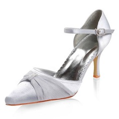 Satin Stiletto Heel Closed Toe Wedding Shoes With Buckle Rhinestone (047011835)
