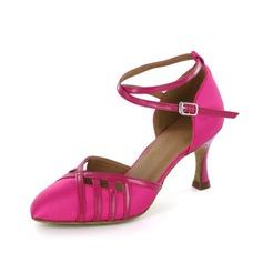 De mujer Satén Cuero Tacones Salón Moderno con Tira de tobillo Zapatos de danza