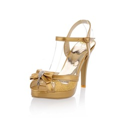 Patentert Lr Funklende Glimmer Stiletto Hl Platform Sandaler med Rhinestone Slyfeknute (087023579)
