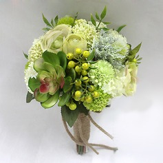 Charme Seda artificiais Buquês de noiva -
