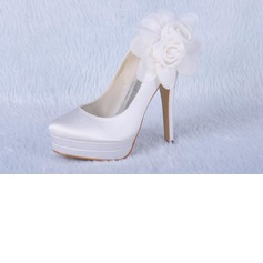 Satin Stiletto Heel Closed Toe Platform Pumps Wedding Shoes With Satin Flower (047011828)