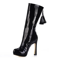 Patent Leather Chunky Heel Platform Mid-Calf Boots With Tassel shoes