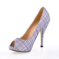 Leatherette Stiletto Heel Pumps Peep Toe shoes