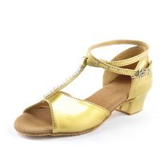 De mujer Niños Cuero Tacones Sandalias Danza latina con Rhinestone Tira de tobillo Zapatos de danza