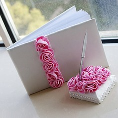 Luxury Wedding Guest Book and Pen Set With Pink Roses(101018166)
