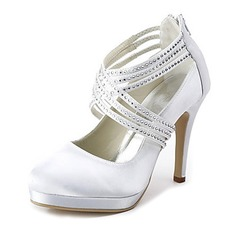 Satin Stiletto Heel Closed Toe Platform Pumps Wedding Shoes With Buckle Rhinestone (047020114)