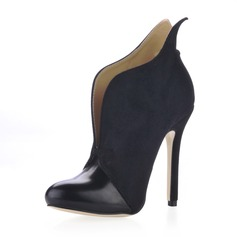 Suede Stiletto Heel Closed Toe Ankle Boots With Split Joint (088017455)
