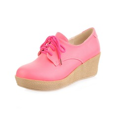 Leatherette Wedge Heel Platform Closed Toe With Lace-up shoes
