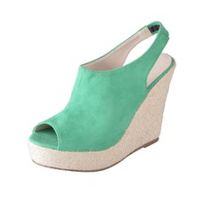Leatherette Wedge Heel Sandals Peep Toe Slingbacks shoes