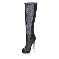 Patent Leather Stiletto Heel Peep Toe Knee High Boots With Hollow-out (088017944)