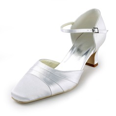 Satin Chunky Heel Pumps Wedding Shoes (047011843)