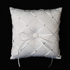White Satin Ring Pillow With Rhinestones And Bow(103018266)