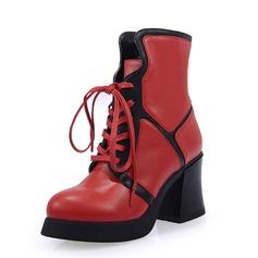 Frauen Echtleder Stämmiger Absatz Stiefelette Schuhe
