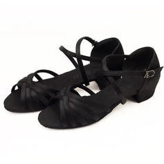 Satin Sandals Flats Latin Dance Shoes (053009738)