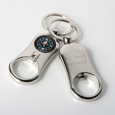 Personalized Compass Zinc Alloy Keychains (Set of 4)