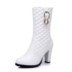 Patent Leather Chunky Heel Mid-Calf Boots With Buckle Zipper shoes