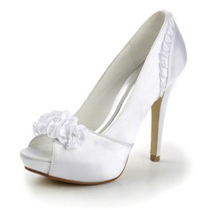 Satin Stiletto Heel Peep Toe Platform Pumps Wedding Shoes With Satin Flower (047011826)