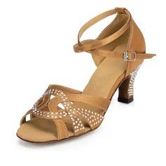 De mujer Satén Tacones Sandalias Danza latina con Rhinestone Tira de tobillo Zapatos de danza