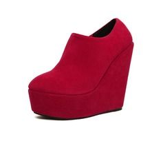 Suede Wedge Heel Platform Closed Toe Wedges Ankle Boots With Zipper shoes