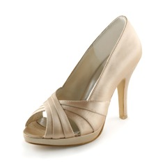 Satin Stiletto Heel Peep Toe Platform Pumps Wedding Shoes (047005396)