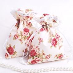 Mooie Bloemen Thema Bedank Tassen met Linten (Set van 12)