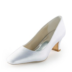 Satin Spool Heel Closed Toe Wedding Shoes (047005395)