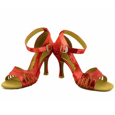 De mujer Cuero Tacones Sandalias Danza latina Salsa Fiesta con Tira de tobillo Zapatos de danza