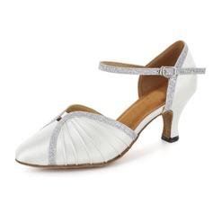 Women's Satin Sparkling Glitter Heels Pumps Modern Ballroom Wedding Dance Shoes