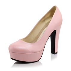 Women's Leatherette Chunky Heel Pumps Platform Closed Toe shoes