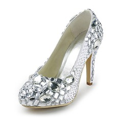Satin Stiletto Heel Closed Toe Platform Pumps Wedding Shoes With Rhinestone (047020108)