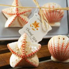 Shell & Star Ceramic Salt & Pepper Shakers With Tag (Set of 2 pieces)