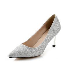 Women's Sparkling Glitter Spool Heel Closed Toe Pumps