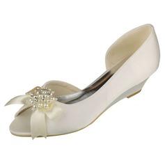 Women's Satin Wedge Heel Peep Toe Wedges With Bowknot Imitation Pearl