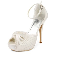 Lace Satin Stiletto Heel Platform Sandals Wedding Shoes With Bowknot Buckle (047011801)