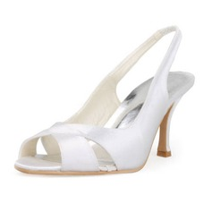 Satin Stiletto Heel Peep Toe Slingbacks Pumps Wedding Shoes (047011869)