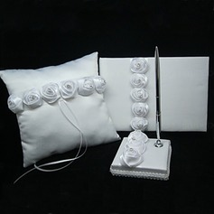 White Ring Pillow With Guest Book and Pen Set (3 Pieces)(100017966)