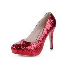 Espumante Glitter Salto agulha Bombas Plataforma Fechados sapatos