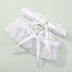 2-Piece Satin with Bowknot/Rhinestone Wedding Garter (104019474)